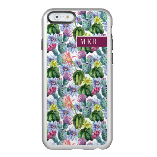 Coque iPhone 6 Incipio Feather® Shine Motif peint à la main de cactus d'aquarelle