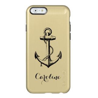 Coque iPhone 6 Incipio Feather® Shine Or métallique fascinant et monogramme noir d'ancre