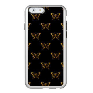 Coque iPhone 6 Incipio Feather® Shine Papillons métalliques de feuille d'or sur le noir