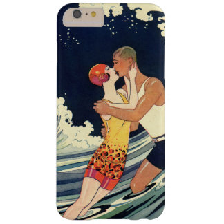 Coque iPhone 6 Plus Barely There Baiser vintage d'amants d'art déco dans les vagues