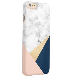 Coque iPhone 6 Plus Barely There bloc bleu de couleur de pêche de marbre blanche