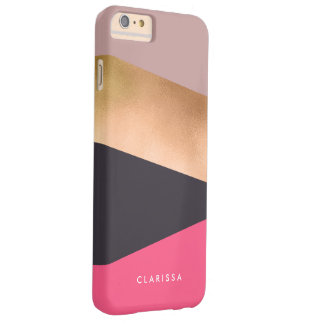 Coque iPhone 6 Plus Barely There bloc gris de couleur de poussin de rose rose