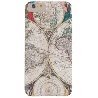 Coque iPhone 6 Plus Barely There Carte antique du monde de Double-Hémisphère