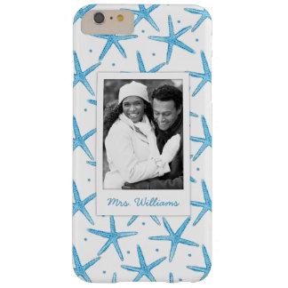 Coque iPhone 6 Plus Barely There Étoiles de mer bleues d'aquarelle | votre photo et