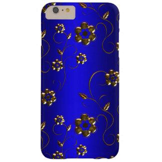 Coque iPhone 6 Plus Barely There Fleurs d'or sur le bleu