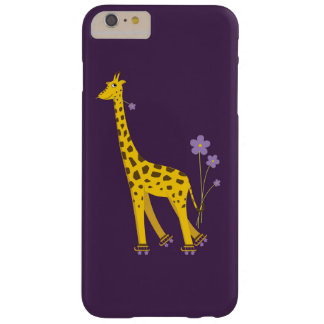 Coque iPhone 6 Plus Barely There Girafe drôle pourpre de bande dessinée de patinage