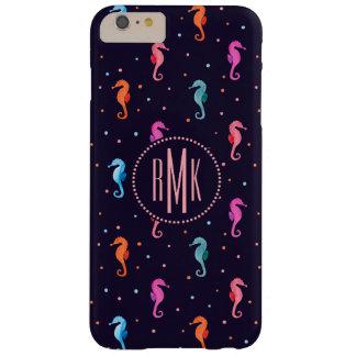 Coque iPhone 6 Plus Barely There Hippocampes d'aquarelle sur le motif de bleu