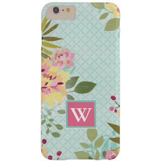 Coque iPhone 6 Plus Barely There Jardin floral, arrière - plan bleu