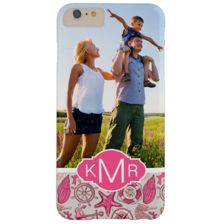 Coque iPhone 6 Plus Barely There Mer rose Pattern| votre photo et monogramme