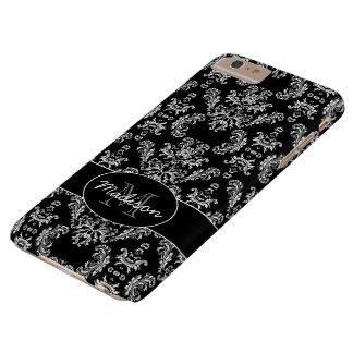 Coque iPhone 6 Plus Barely There Monogramme blanc vintage élégant de noir de