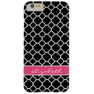 Coque iPhone 6 Plus Barely There Monogramme moderne de Quatrefoil de noir et de
