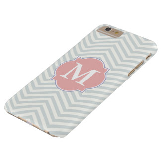 Coque iPhone 6 Plus Barely There Monogramme moderne gris et attrayant de coutume de