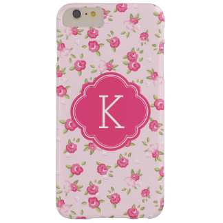 Coque iPhone 6 Plus Barely There Monogramme vintage chic rose d'impression florale