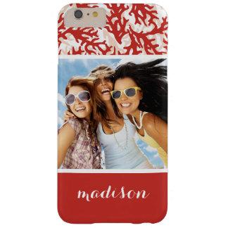 Coque iPhone 6 Plus Barely There Motif | de corail rouge votre photo et nom