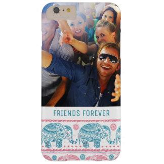 Coque iPhone 6 Plus Barely There Motif rose et turquoise fait sur commande de photo