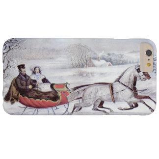 Coque iPhone 6 Plus Barely There Noël vintage, l'hiver de route, cheval de Sleigh