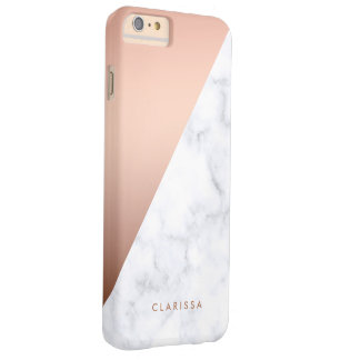 Coque iPhone 6 Plus Barely There or rose de marbre blanc géométrique élégant de