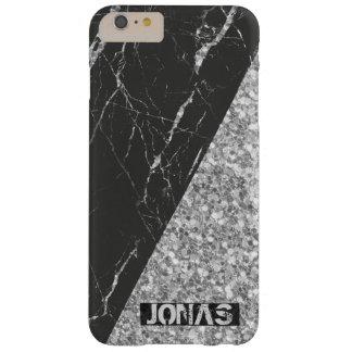 Coque iPhone 6 Plus Barely There Parties scintillantes argentées et marbre noir