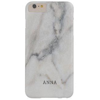 Coque iPhone 6 Plus Barely There Texture de marbre blanche avec le nom fait sur