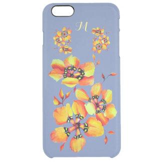 Coque iPhone 6 Plus Fleurs oranges lumineuses - gris bleu - monogramme