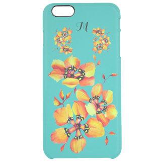 Coque iPhone 6 Plus Fleurs oranges lumineuses - monogramme d'aqua