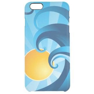 Coque iPhone 6 Plus Illustration de vagues de mer de Sun et de surf