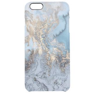 Coque iPhone 6 Plus Iphone d'or de marbre 6/6S d'abrégé sur bleu plus