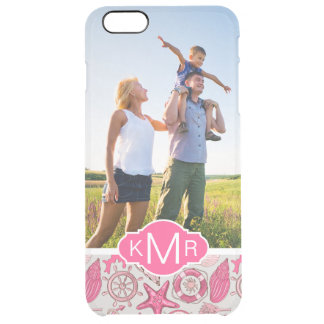 Coque iPhone 6 Plus Mer rose Pattern| votre photo et monogramme