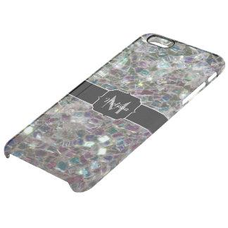 Coque iPhone 6 Plus Monogramme argenté coloré scintillant de mosaïque