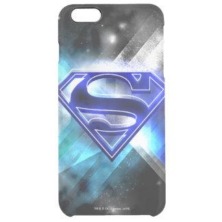Coque iPhone 6 Plus Superman a stylisé le logo en cristal blanc bleu