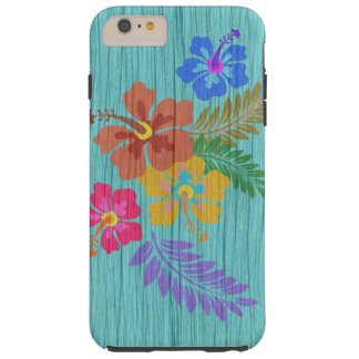 Coque iPhone 6 Plus Tough Copie hawaïenne rustique de fleurs