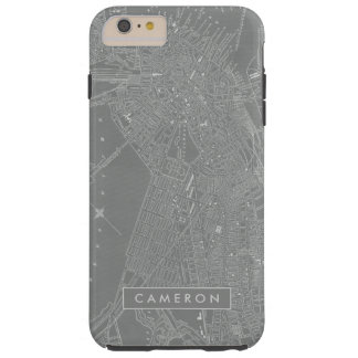 Coque iPhone 6 Plus Tough Croquis de carte de ville de Boston