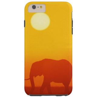 Coque iPhone 6 Plus Tough Éléphant africain marchant au coucher du soleil,