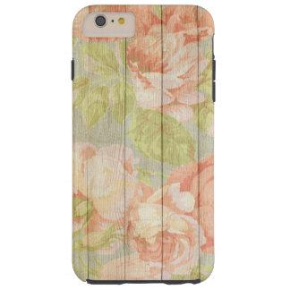 Coque iPhone 6 Plus Tough Grain en bois floral chic minable