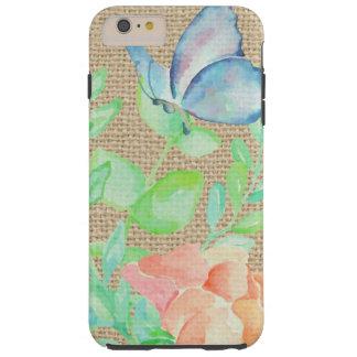 Coque iPhone 6 Plus Tough Imaginaire de toile de jute de fleurs et de