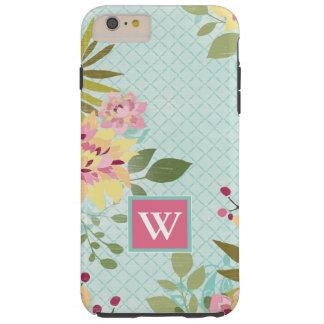 Coque iPhone 6 Plus Tough Jardin floral, arrière - plan bleu