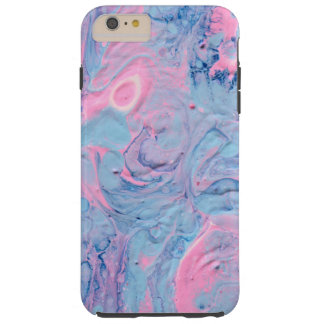 Coque iPhone 6 Plus Tough L'acrylique bleu et rose versent la conception