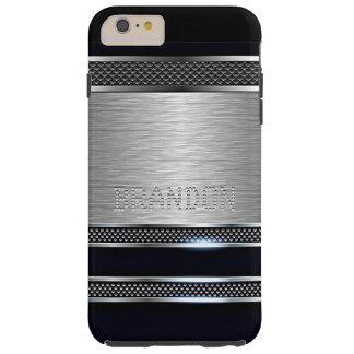 Coque iPhone 6 Plus Tough Motif brillant de rayures en métal de Faux moderne