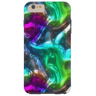 Coque iPhone 6 Plus Tough Motif de vagues pourpre frais du rose 3D de vert