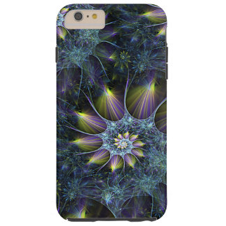 Coque iPhone 6 Plus Tough Motif floral de fractale de spirale pourpre bleue
