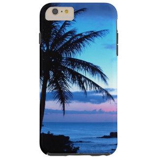 Coque iPhone 6 Plus Tough Photo bleue de coucher du soleil d'île de plage de