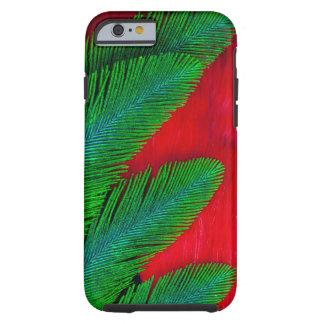 Coque iPhone 6 Tough Abrégé sur rouge et vert plume