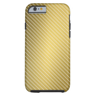 Coque iPhone 6 Tough Base de motif de fibre de carbone d'or