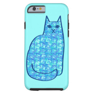 Coque iPhone 6 Tough Bleu marine moderne de chat, d'Aqua et de la