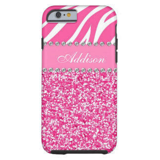 Coque iPhone 6 Tough Caisse Girly de fausse pierre de zèbre de parties
