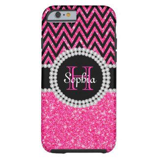 Coque iPhone 6 Tough Cas dur de l'iPhone 6 de Chevron de noir rose de