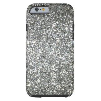 Coque iPhone 6 Tough Charme argenté de parties scintillantes