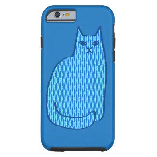 Coque iPhone 6 Tough Chat, cobalt et bleu-clair modernes de la moitié
