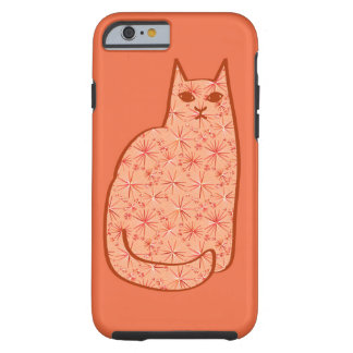 Coque iPhone 6 Tough Chat moderne de la moitié du siècle, orange et