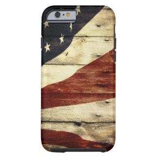 Coque iPhone 6 Tough Drapeau américain en bois de grange primitive